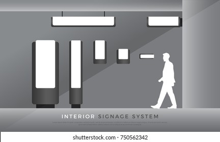 interior signage. direction, directory, room name signage system design template set. empty space for logo, text, color corporate identity