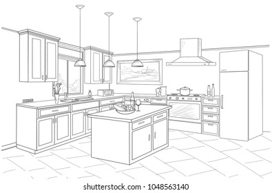 Interior sketch of kitchen room. Outline blueprint design of kitchen with modern furniture and island
