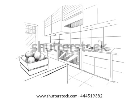 Interior Sketch Modern Kitchen Island Stock Vector Royalty Free