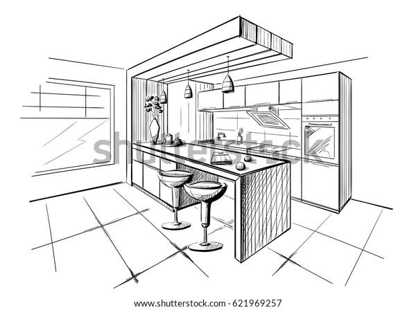 Interior Sketch Modern Kitchen Island Stock Vector (Royalty Free) 621969257
