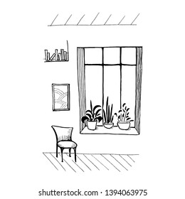 Interior sketch. Painted window. Simple hand-drawn doodles (window, plants, painting, chair). Isolated on white background.