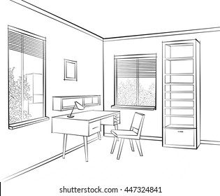 Interior sketch of work place furniture with chair, table, shelf, window. Office room design. Engraving hand drawing workplace coloring vector illustration