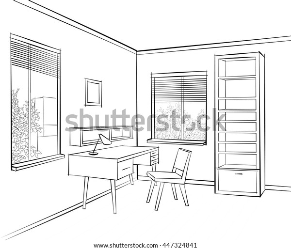 Interior Sketch Work Place Furniture Chair Stock Vector Royalty Free 447324841