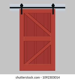 Interior sliding door in the barn style