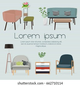 Interior. Sofa sets and home accessories. Furniture design. Sofas with pillows,flowerpot