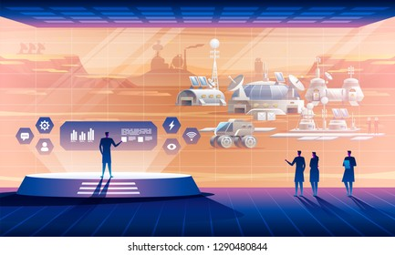 Interior of the space base with view on extraterrestrial settlement. Exploration terraforming mission. Science concept. Vector illustration