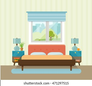 Interior space bedroom with a bed near a window. Vector flat illustration