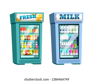 Interior of store, mall, shopping center, with grocery counters. Supermarket shelves, fridge with fresh drinks and milk. Shelves with juice, carbonated water, milk. Vector illustration.