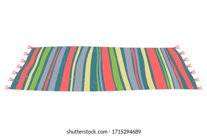 Image vectorielle de style intérieur, icône isolée d'un tapis coloré en gros plan, décoration à plat de la maison. Moquette posée au sol, décoration rayée, tissu de coton chaleureux