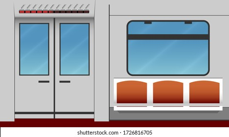 Interior of subway car. Vector illustration