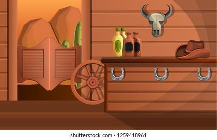 Interior of texas saloon bar concept banner. Cartoon illustration of interior of texas saloon bar vector concept banner for web design