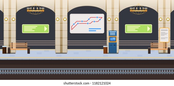 Interior of underground metro station, underground train car, with railway, terminals, information signs, signboard with route, benches for waiting of tram, trains at station. Vector illustration.