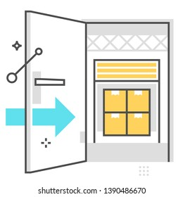 Interior unit related, color line, vector icon for application and website development. The flat icon can be used as an illustration, background concept, graphics design, sign and symbol.