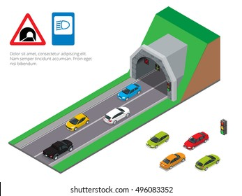Interior of an urban walkway tunnel road. Flat 3d isometric illustration. For infographics and design