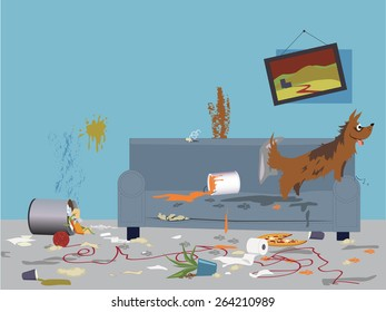 Interior of a very messy room, turned upside down by an energetic happy dog, sitting on a torn dirty couch, vector illustration, no transparencies, EPS 8