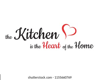 Interior wall design for the kitchen. Sticker concept slogan. Kitchen Is Heart of the Home. Vector. Wall decal set to decorate someones home and kitchen.