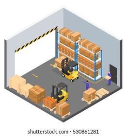 Interior Warehouse Building Isometric View. Vector