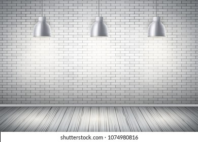 Interior of White brick wall with vintage pendant lamps and wooden floor. Vintage Rural room and fashion interior. Grunge Industrial Texture. Background of loft and trendy showroom or cafe. Vector.