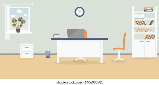 Interior of working place in the office on the light grey background. Vector illustration. Furniture: table, chair, cabinet with folders and books.Wall clock,monstera,window,bin. For advertising,sites