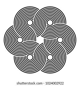 Interlaced curves, hexagonal flower, logo design element