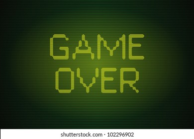 Interlaced old computer game over screen