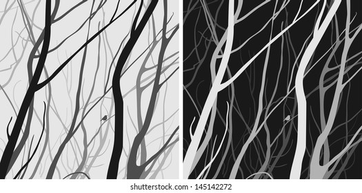 interlacing branches, dark and light versions, black and white colors, vector illustration