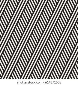 Interlacing Parallel  Stripes. Vector Seamless Monochrome Pattern.