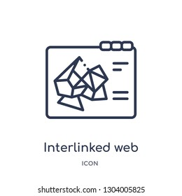 interlinked web icon from web outline collection. Thin line interlinked web icon isolated on white background.