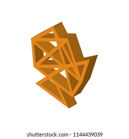 Interlinked web isometric right top view 3D icon