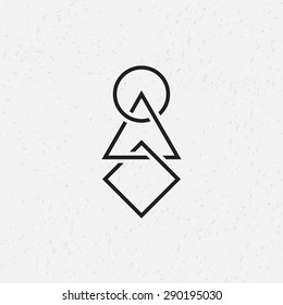 Interlocked circle, triangle and square, vector illustration, geometric symbols