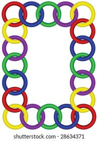 Interlocked three dimensional ring frame, EPS 8 vector file format