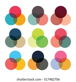 Interlocking circle icon in various colour themes
