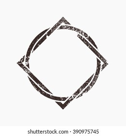 Interlocking circle and square, grunge design, vector illustration