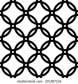 Interlocking circles background. Monochrome repeatable pattern