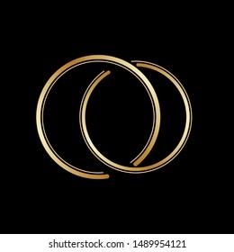 Interlocking circles, goldrings contour. Circles rings concept icon