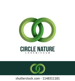 Interlocking circles logo, rings contour. Circles, rings concept icon