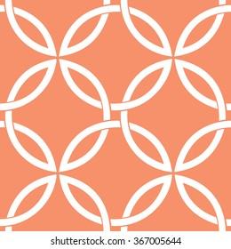Interlocking circles pattern seamless vector background tile