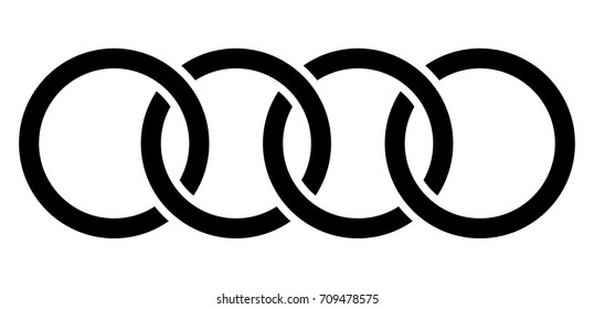 Interlocking circles, rings contour. Circles, rings concept icon