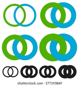 Interlocking circles, rings. Infinite symbol or logo with different line widths