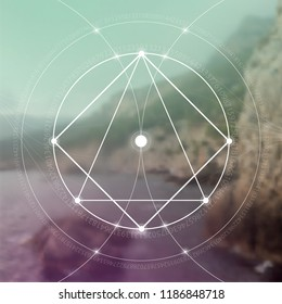 Interlocking circles, triangles and squares hipster sacred geometry illustration with golden ratio digits and light dots in front of photographic background.