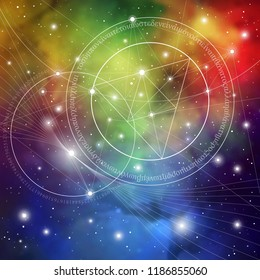 Interlocking circles, triangles and squares hipster sacred geometry illustration with golden ratio digits and light dots in front of outer space background.