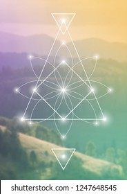 Interlocking futuristic triangles, squares and geometric minimal flower.  Hipster sacred geometry illustration with golden ratio digits and light dots in front of photographic background.