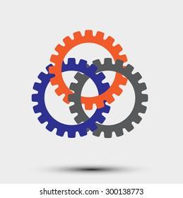 Interlocking gears  symbol of cooperation