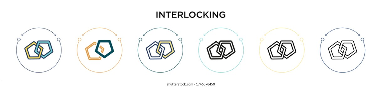 Interlocking icon in filled, thin line, outline and stroke style. Vector illustration of two colored and black interlocking vector icons designs can be used for mobile, ui, web