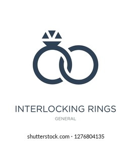 interlocking rings icon vector on white background, interlocking rings trendy filled icons from General collection, interlocking rings vector illustration