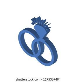 Interlocking rings isometric left top view 3D icon