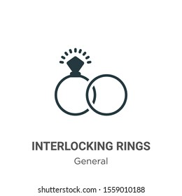 Interlocking rings vector icon on white background. Flat vector interlocking rings icon symbol sign from modern general collection for mobile concept and web apps design.