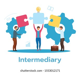 Intermediary flat vector illustration. Social enterprise. Wholesaler, distributor, reseller. E-commerce. Business model. Isolated cartoon character on white background