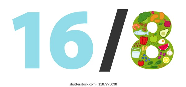 Intermittent fasting, 16/8, time-restricted eating. Illustrated text, healthy foods in shape of 8, fasting method, weight loss, isolated on white background