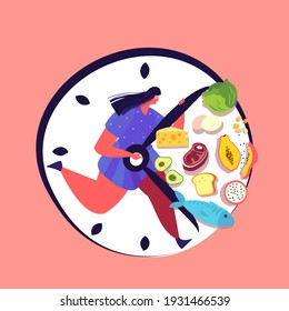 Intermittent fasting concept. Man Run in Clock waiting for time to eat healthy food. Boy trying to lose weight standing by interval nutrition discipline. Biohacking element. Flat vector illustration